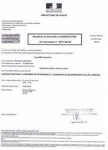 Le récépissé de déclaration de modifications de l'association délivré par la Préfecture de Police de Paris le 29 juillet 2013