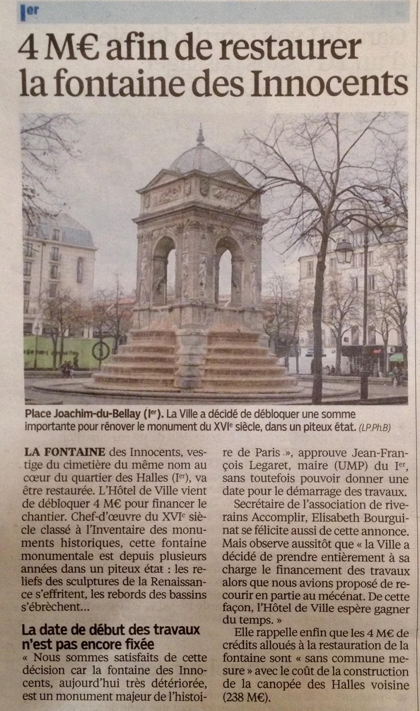 20150129_Le_Parisien_4M€_afin_restaurer_fontaine_Innocents
