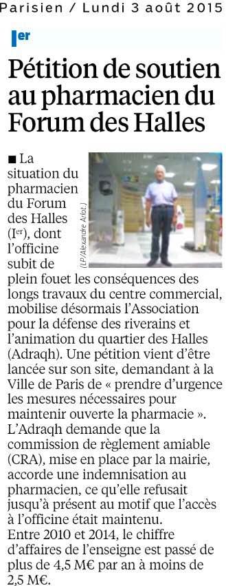 20150803_Le_Parisien_Petition_de_soutien_au_pharmacien_du_Forum_des_Halles