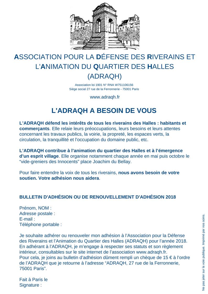 Flyer adhésion ADRAQH