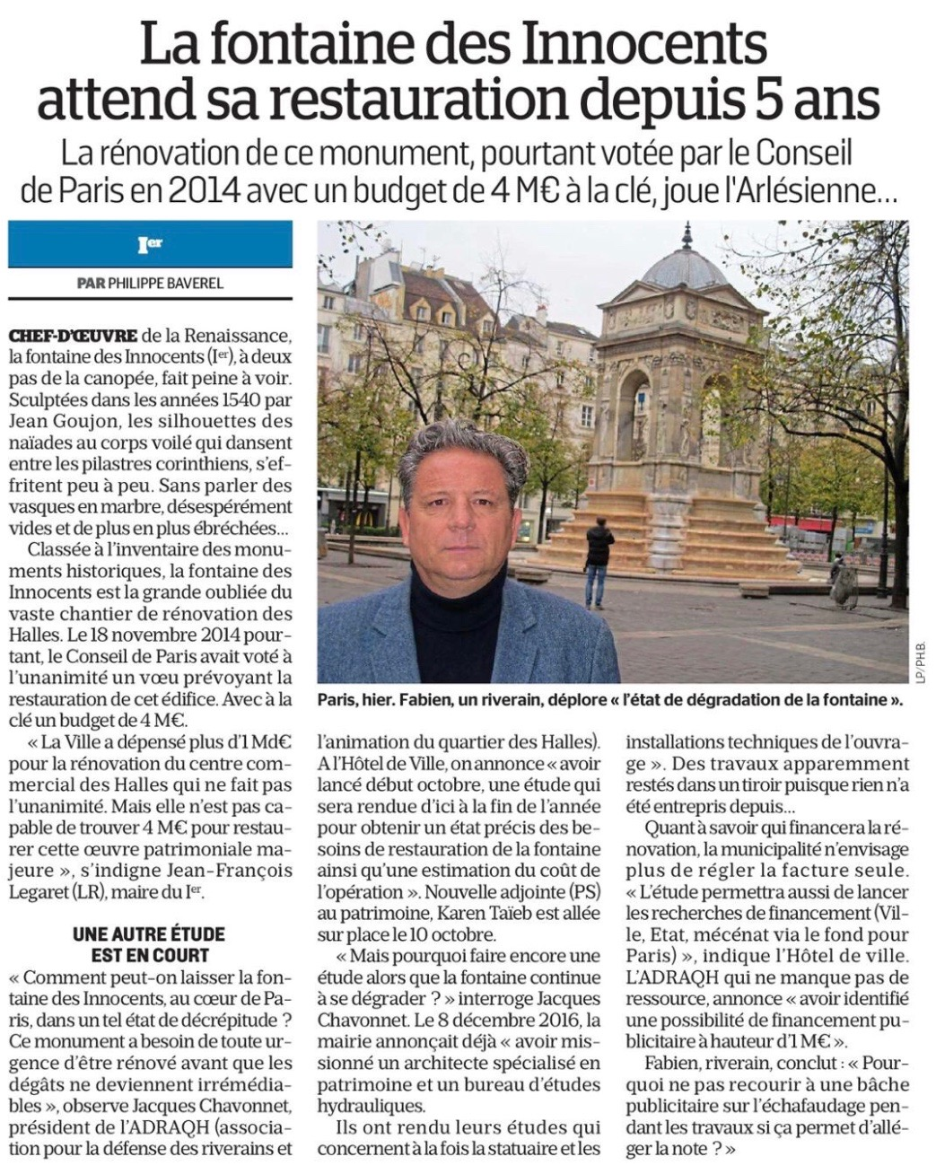 20181030_Le_Parisien_La_fontaine_des_Innocents_attend_sa_restauration_depuis_5_ans